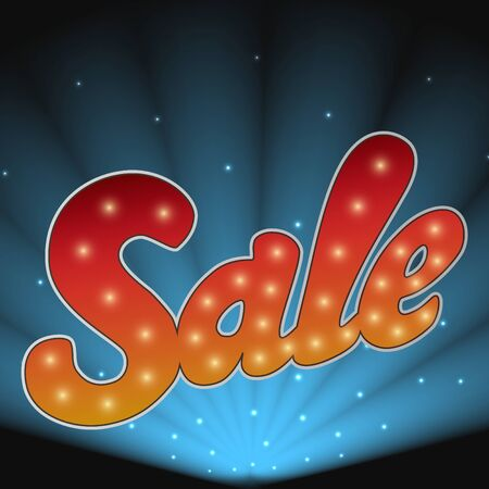 floodlights: Sale banner with small lights and floodlights on the background. Illustration