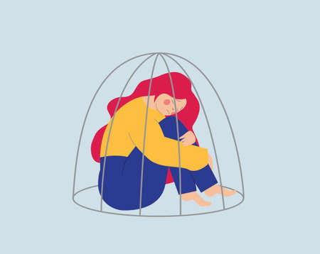 Young woman or girl locked inside a cage. Prisoner girl suffers from Inequality and restriction of ability in society. Women's empowerment movement. Freedom and mental health. Flat vector illustration