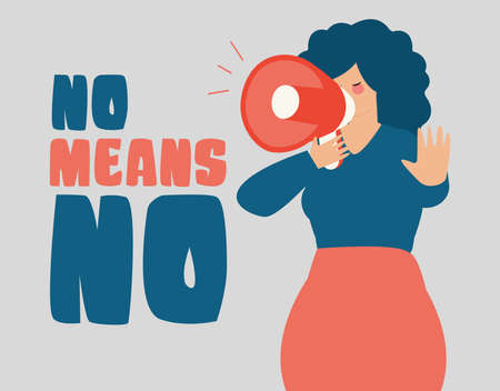 Woman hold a loudspeaker and says No means NO. Female protests against violence harassment prevention, social issue. Gender equality, discrimination and awareness concept. Vector illustration. Vektorové ilustrace