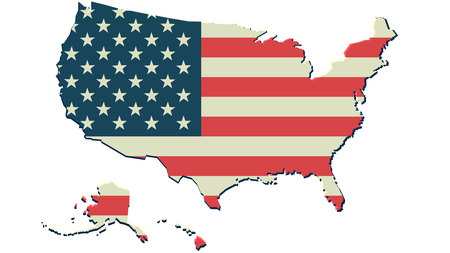united state america flag map background vector print