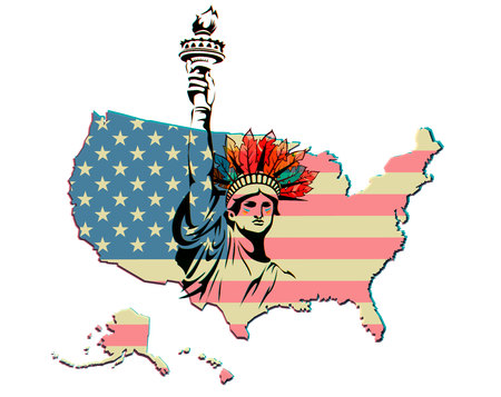liberty apache united state america flag map background vector print icon