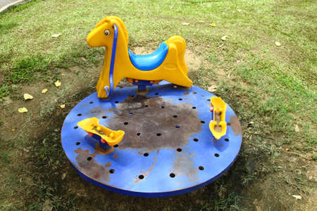 roundabout: old roundabout playground Stock Photo