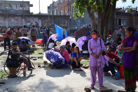quake: Kathmandu Nepal  May 12 2015 : People stay on an open ground after earthquake disaster