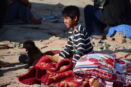 depress: Kathmandu Nepal  May 12 2015 : Depress boy after earthquake disaster