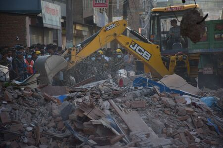 richter: Kathmandu Napal  May 12 2015 :Dozer restore debris building after earthquake disaster