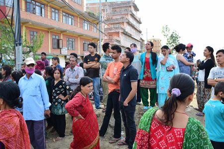 Kathmandu Nepal  May 12 2015 : Panic people after earthquake disaster