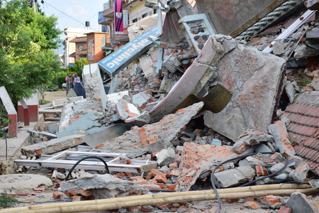 quake: Kathmandu Nepal  May 12 2015 : Collapsed building after earthquake disaster