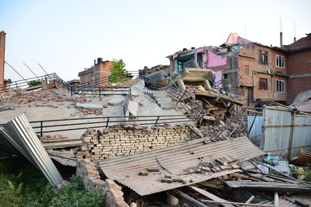 collapsed: Kathmandu Nepal  May 12 2015 : Collapsed building after earthquake disaster