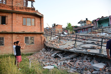 richter: Kathmandu Nepal  May 12 2015 : Collapsed building after earthquake disaster