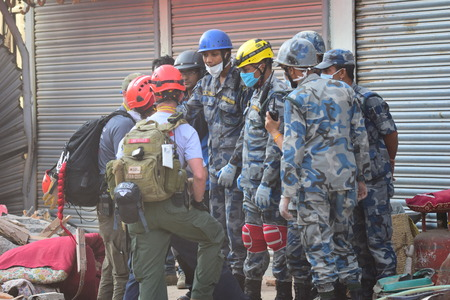 richter: Kathmandu Nepal  May 12 2015 : Rescue team and soldier after earthquake disaster