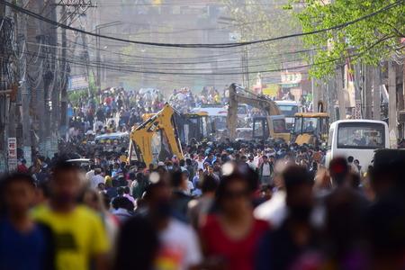 dozer: Kathmandu Nepal  May 12 2015 :Dozer restore debris building after earthquake disaster Editorial