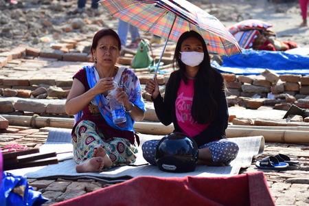 richter: Kathmandu Nepal  May 12 2015 : Depress women after earthquake disaster