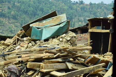 the aftermath: Sipaghat bazar Kavreplanchok district Nepal  May 8 2015 : Collapsed building after earthquake disaster