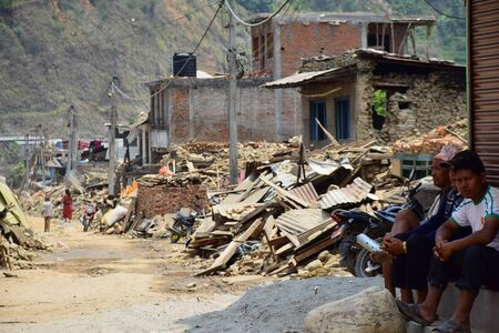 aftermath: Sipaghat bazar Kavreplanchok district Nepal  May 8 2015 : Collapsed building after earthquake disaster
