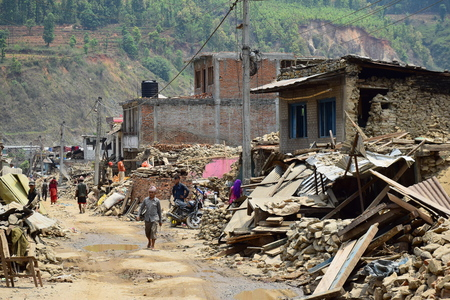 richter: Sipaghat bazar Kavreplanchok district Nepal  May 8 2015 : Collapsed building after earthquake disaster