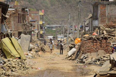 quake: Sipaghat bazar Kavreplanchok district Nepal  May 8 2015 : Collapsed building after earthquake disaster