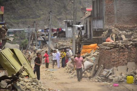 bazar: Sipaghat bazar Kavreplanchok district Nepal  May 8 2015 : Collapsed building after earthquake disaster