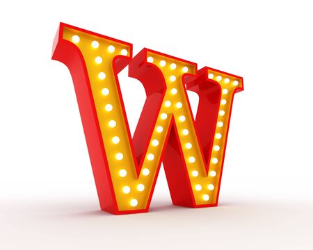 show cases: Broadway style light bulb alphabet 3d redering