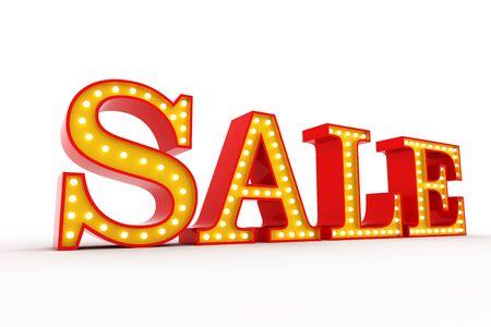Sale Broadway style light bulb alphabet 3d rendering
