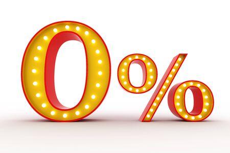 Zero percent Broadway style light bulb alphabet 3d rendering