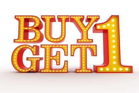 buy one: Buy one get one Free Broadway style light bulb alphabet 3d rendering
