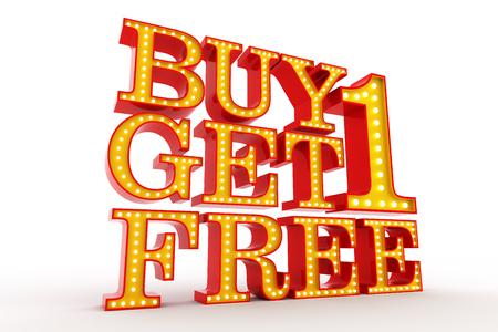 Buy one get one Free Broadway style light bulb alphabet 3d rendering Stock fotó - 69535810