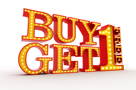 Buy one get one Free Broadway style light bulb alphabet 3d rendering