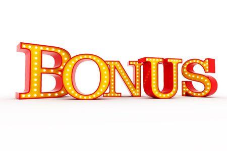 Word Bonus Broadway style light bulb alphabet 3d rendering Banco de Imagens