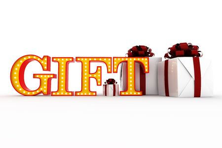 Word gift Broadway style light bulb alphabet 3d rendering Stock Photo