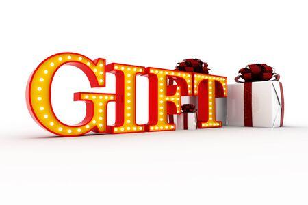 Word gift Broadway style light bulb alphabet 3d rendering Banco de Imagens