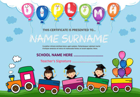 Kids Diploma certificate background design template Illusztráció