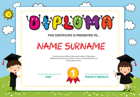 Kids Diploma certificate background design template Banco de Imagens - 101079630