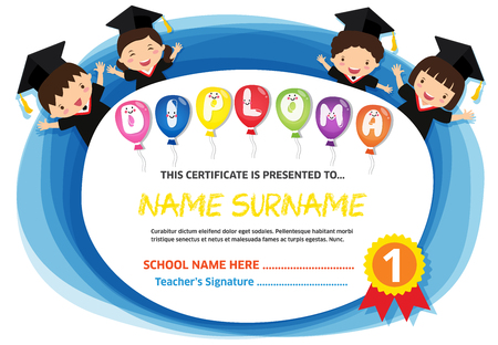 Kids Diploma certificate background design template Banco de Imagens - 101081132