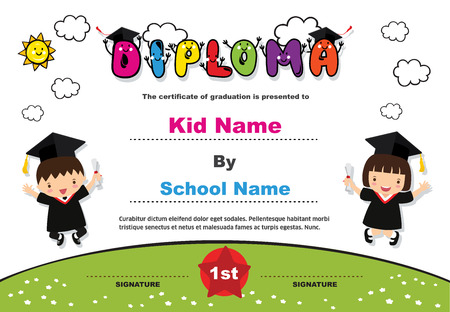 Kids diploma certificate background design template. Banco de Imagens - 101052091