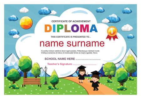Kids diploma certificate background design template. Stock fotó - 101052094