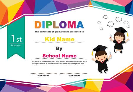 Kids diploma certificate background design template. Stock fotó - 101052095