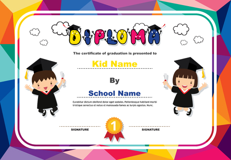 Kids diploma certificate background design template. Stock fotó - 101052096