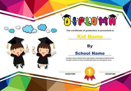 Kids diploma certificate background design template. Banco de Imagens - 101052097