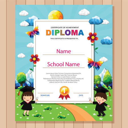 Kids diploma certificate background design template. Stock fotó - 101052098