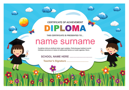 Kids diploma certificate background design template. Stock fotó - 101052099