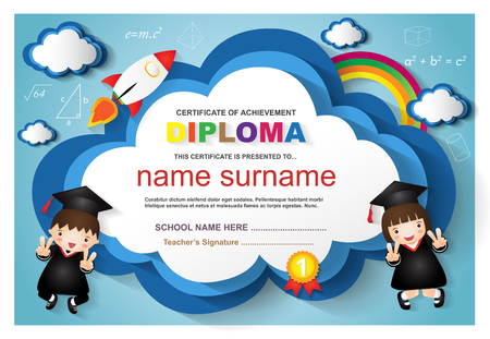 Kids diploma certificate background design template.