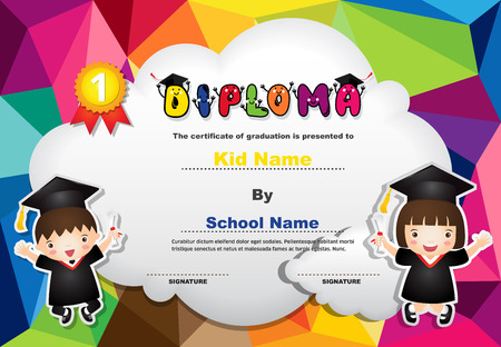 Kids diploma certificate background design template. Stock fotó - 101052101
