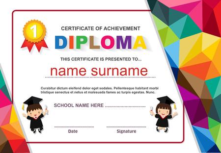 Kids diploma certificate background design template.