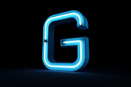 Blue Neon light of G alphabet 3d rendering on black background Banco de Imagens