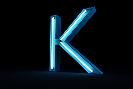 Blue Neon light alphabet 3d rendering on black background Stock fotó - 101594342