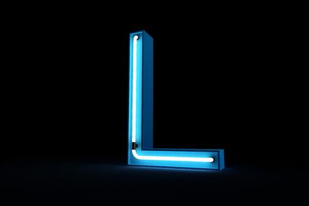 Blue Neon light of L alphabet 3d rendering on black background