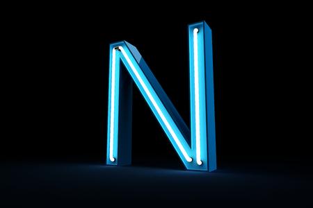 Blue Neon light alphabet 3d rendering on black background