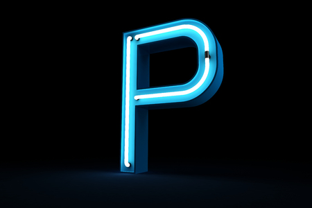 Blue Neon light alphabet 3d rendering on black background Banco de Imagens - 101581871