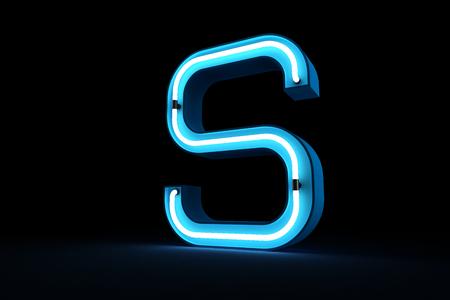 Blue Neon light of S alphabet 3d rendering on black background