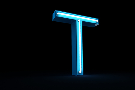 Blue Neon light alphabet 3d rendering on black background